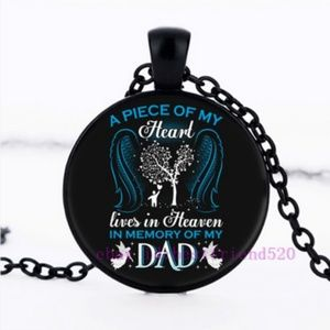Jewelry - In Memory of My Dad Glass Charm Necklace Black